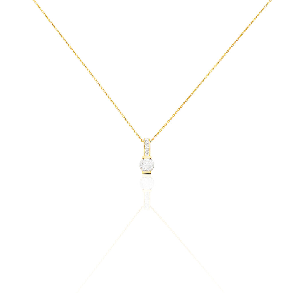 Damen Halskette Gold 375 Zirkonia - Ketten mit Anhänger Damen   Oro Vivo