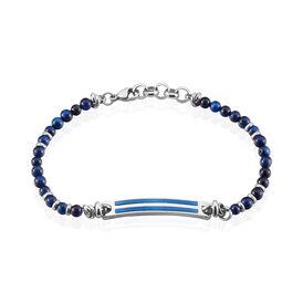 Herrenarmband Edelstahl Blauer Synthetischer Stein - Armbänder Herren | Oro Vivo