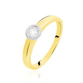 Solitärring Gold 375 Bicolor Diamant 0,10ct - Personalisierte Geschenke Damen   Oro Vivo