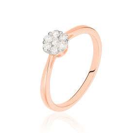 Damenring Roségold 375 Diamanten 0,16ct Blume - Ringe mit Edelsteinen Damen | Oro Vivo