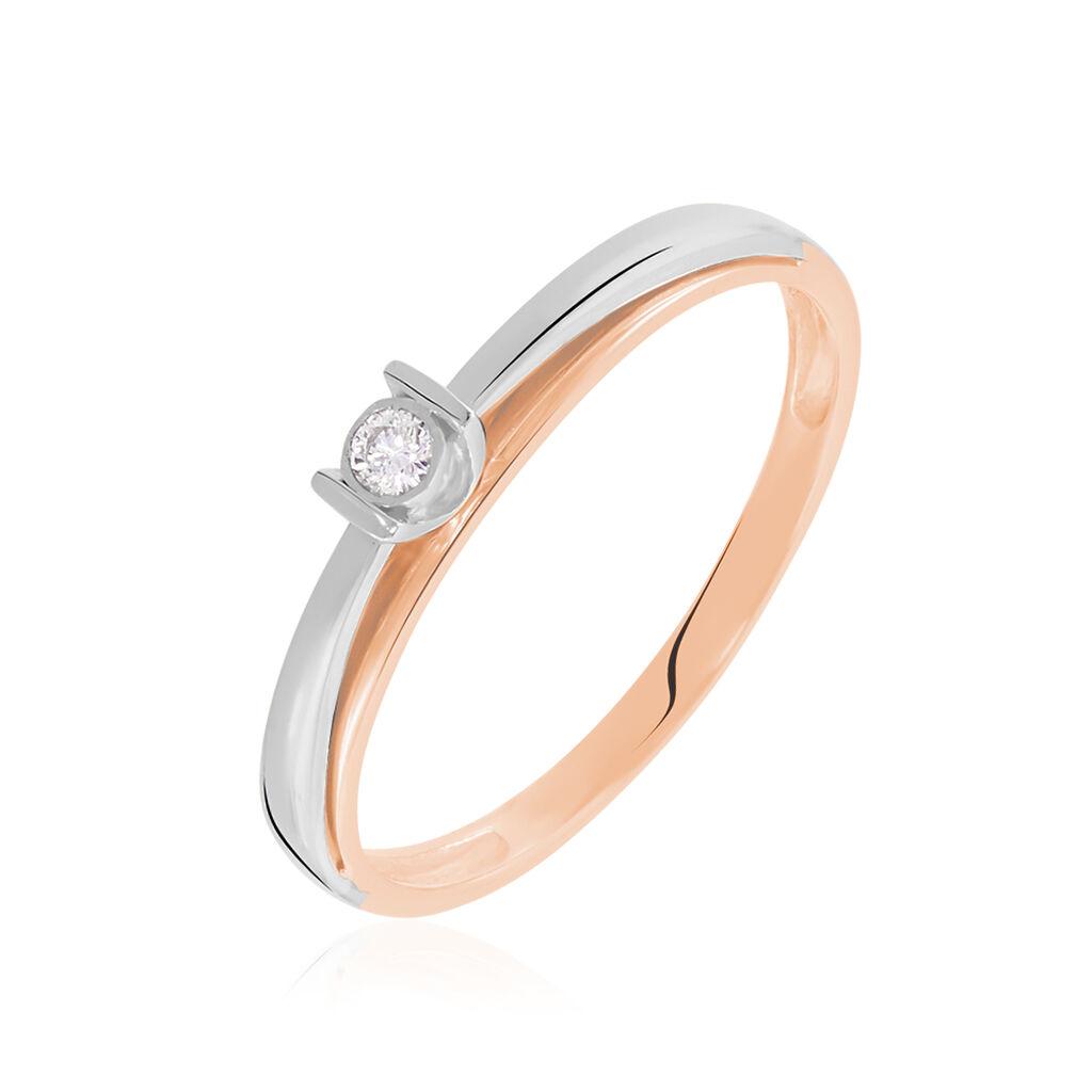 Solitärring Gold 375 Bicolor Diamant 0,04ct - Ringe mit Edelsteinen Damen | Oro Vivo