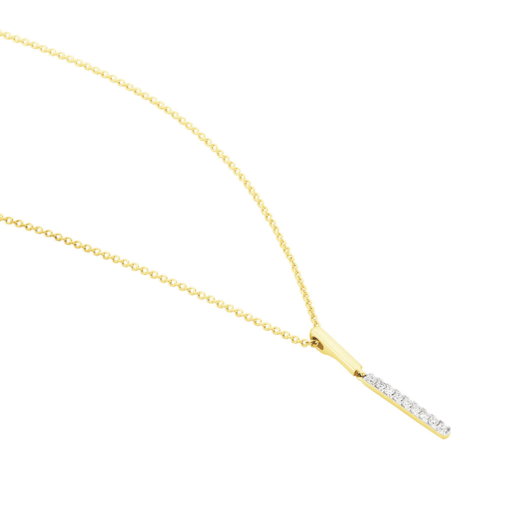 Damen Halskette Gold 375 Bicolor Diamanten 0,081ct