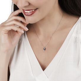 Damen Halskette Weißgold 375 Diamanten Saphir - Ketten mit Anhänger Damen | Oro Vivo