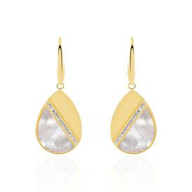 Damen Ohrhänger Lang Edelstahl Vergoldet Perlmutt  - Ohrhänger Damen | Oro Vivo