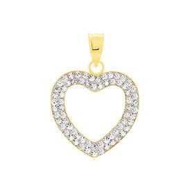Anhänger Gold 375 Kristalle Herz - Herzanhänger Damen | Oro Vivo