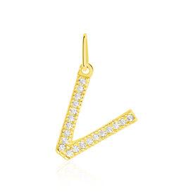 Anhänger Gold 375 Zirkonia Buchstabe V - Personalisierte Geschenke Damen | Oro Vivo