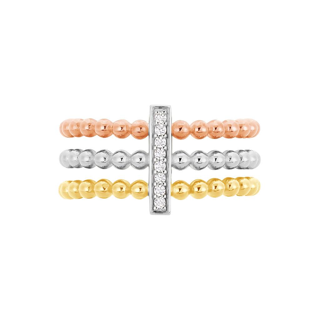 Damenring Silber 925 Vergoldet Tricolor Zirkonia - Ringe mit Stein Damen | Oro Vivo