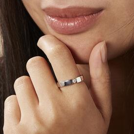 Spannring Weißgold 375 Diamant 0,04ct - Ringe mit Edelsteinen Damen   Oro Vivo