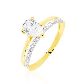 Damenring Gold 375 Bicolor Zirkonia - Ringe mit Stein Damen | Oro Vivo