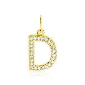 Anhänger Gold 375 Zirkonia Buchstabe D - Personalisierte Geschenke Damen | Oro Vivo