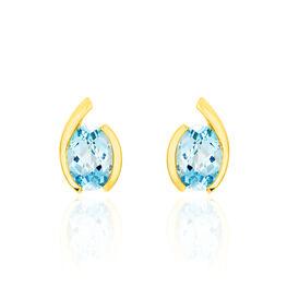 Damen Ohrstecker Gold 333 Blauer Topas  - Black Friday Damen | Oro Vivo