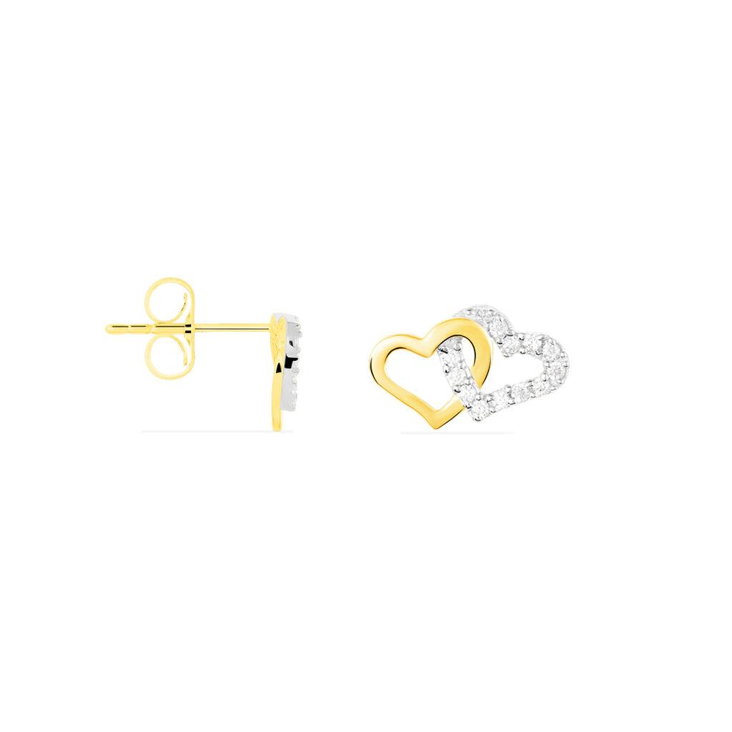 Damen Ohrstecker Gold 375 Zirkonia Herz - Ohrstecker Damen | Oro Vivo