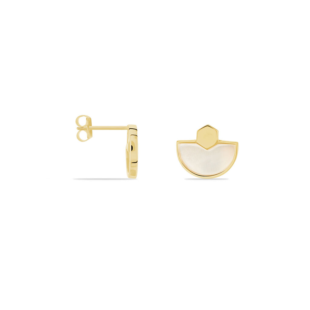 Damen Ohrstecker Silber 925 Vergoldet Perlmutt  - Ohrstecker Damen | Oro Vivo