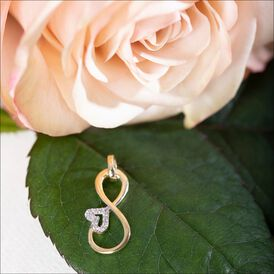 Anhänger Gold 333 Zirkonia Infinity Herz - Herzanhänger Damen   Oro Vivo