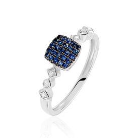 Damenring Weißgold 375 Saphir Diamanten - Black Friday Damen | Oro Vivo