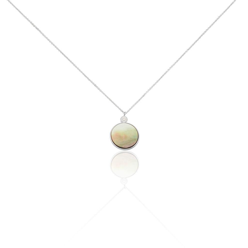 Damen Halskette Weißgold 375 Perlmutt Zirkonia - Ketten mit Anhänger Damen | Oro Vivo