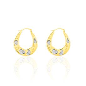 Damen Creolen Gold 375 Bicolor Diamant 0,01ct Herz - Creolen Damen | Oro Vivo