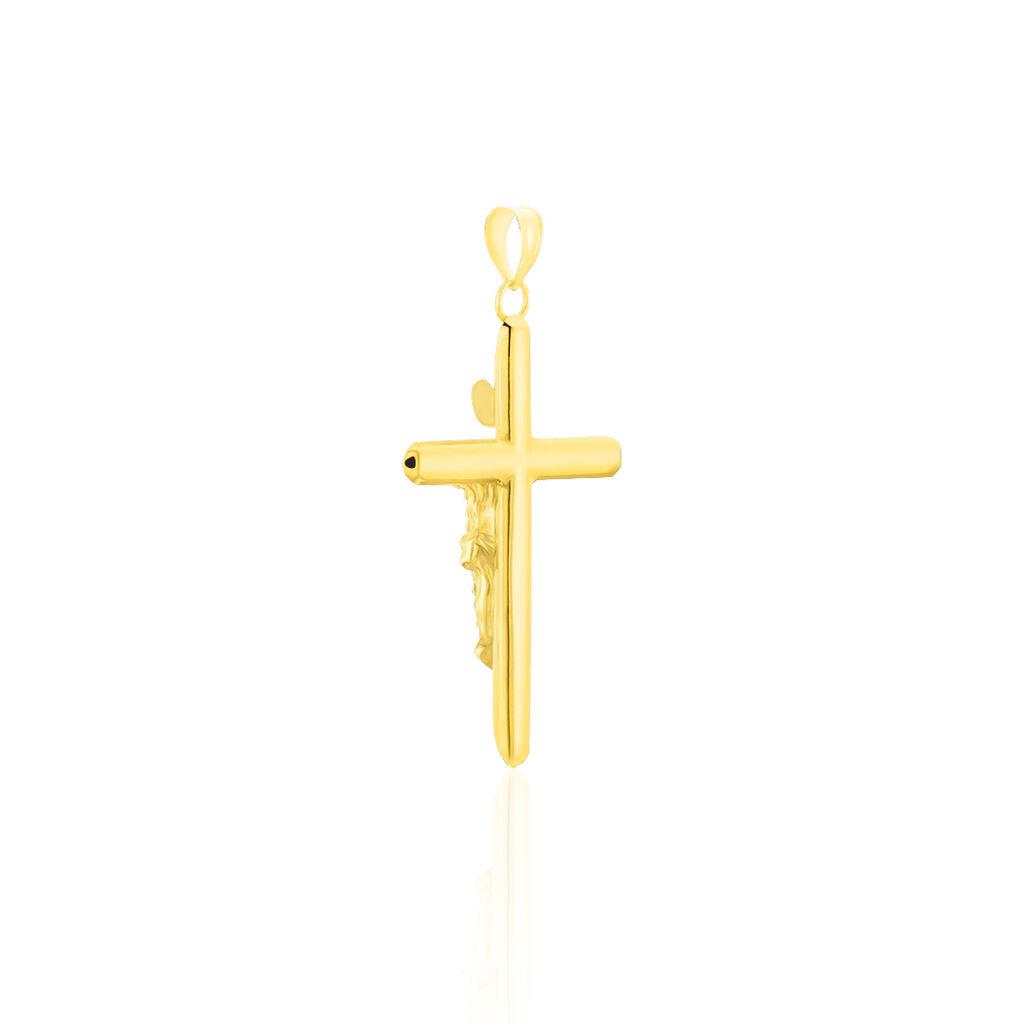 Anhänger Gold 375 Bicolor Kristalle Christus Kreuz - Kreuzanhänger Damen | Oro Vivo