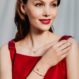 Damen Ohrstecker Silber 925 Rosé Vergoldet Herz - Ohrstecker  | Oro Vivo
