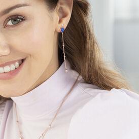 Damen Ohrstecker Lang Silber 925 Rosé Vergoldet - Ohrstecker lang  | Oro Vivo
