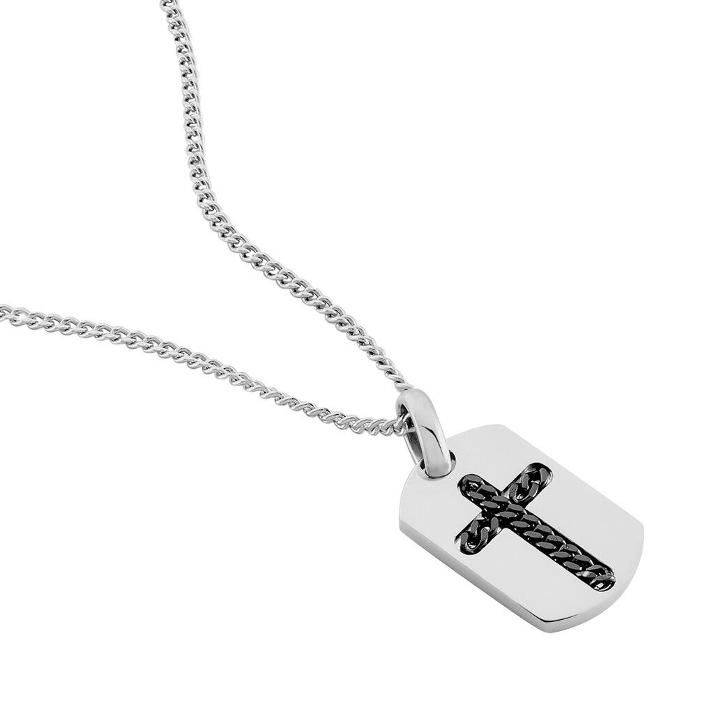 Herren Halskette Silber 925 Kreuz Dog Tag - Ketten mit Anhänger Herren   Oro Vivo