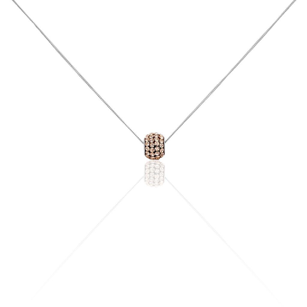Damen Halskette Silber 925 Kristall Champagner - Ketten mit Anhänger Damen   Oro Vivo