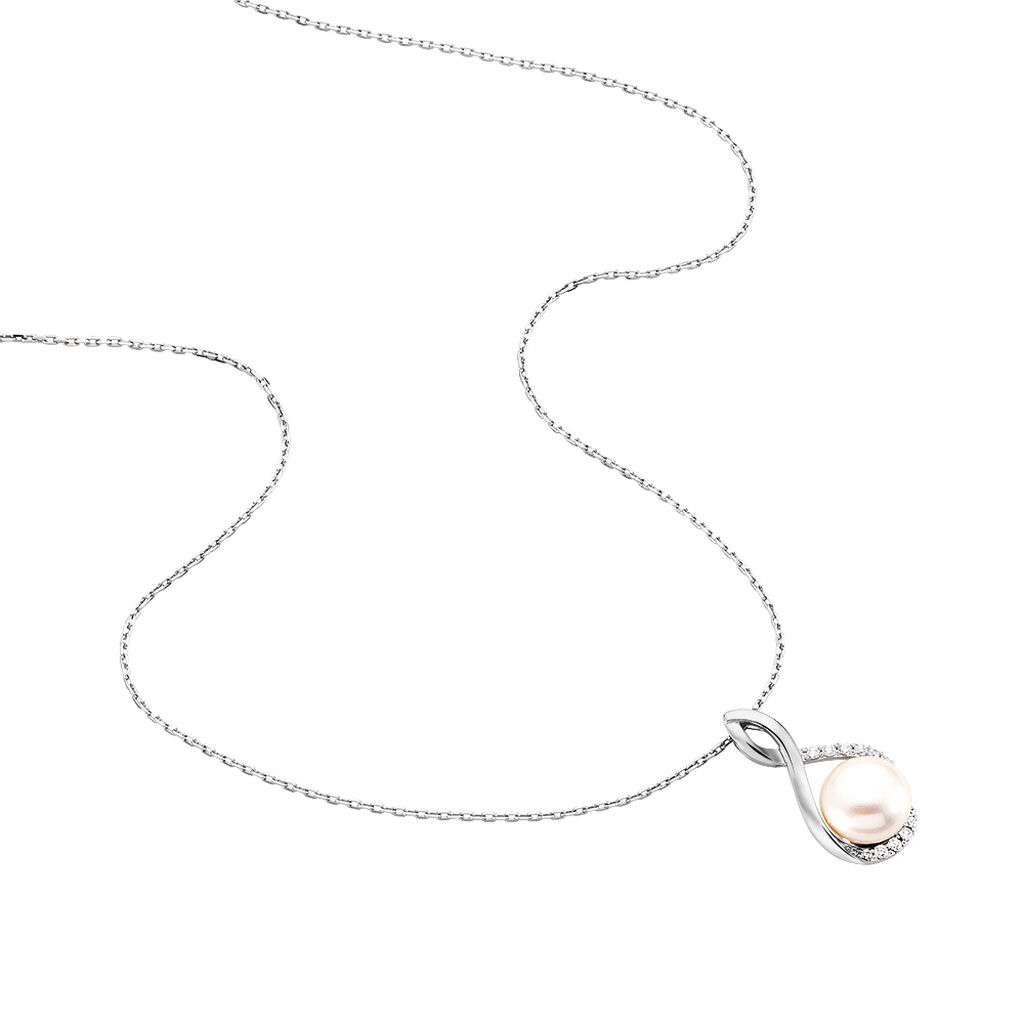 Damen Halskette Silber 925 Zuchtperle Zirkonia - Ketten mit Anhänger Damen | Oro Vivo