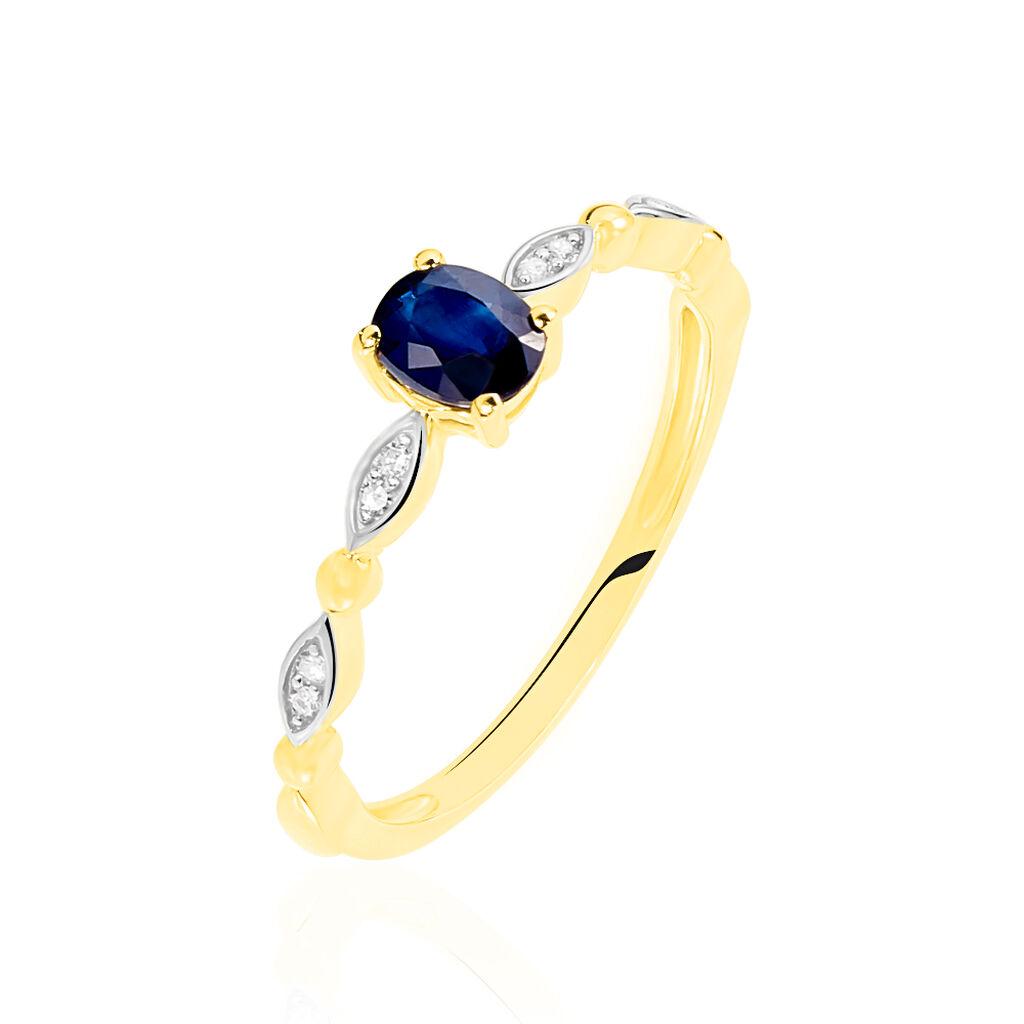 Damenring Gold 375 Bicolor Saphir Diamant - Ringe mit Edelsteinen Damen   Oro Vivo