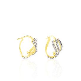 Damen Creolen Weißgold 375 Kristall - Creolen Damen | Oro Vivo