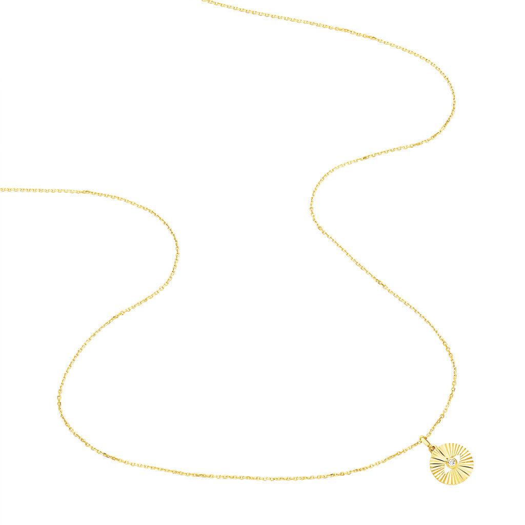Damen Halskette Gold 375 Diamant 0,015ct - Ketten mit Anhänger Damen   Oro Vivo