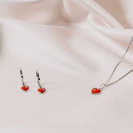 Kinder Halskette Silber 925 Glasstein Herz - Herzketten Kinder   Oro Vivo