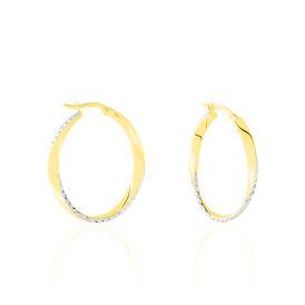 Damen Creolen Gold 375 Bicolor Diamantiert  - Creolen Damen | Oro Vivo