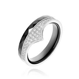 Damenring Silber 925 Zirkonia Schwarzer Keramik - Black Friday Damen | Oro Vivo