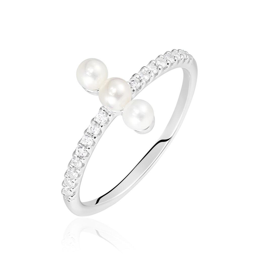 Damenring Silber 925 Zirkonia Synthetische Perlen - Ringe mit Stein Damen | Oro Vivo