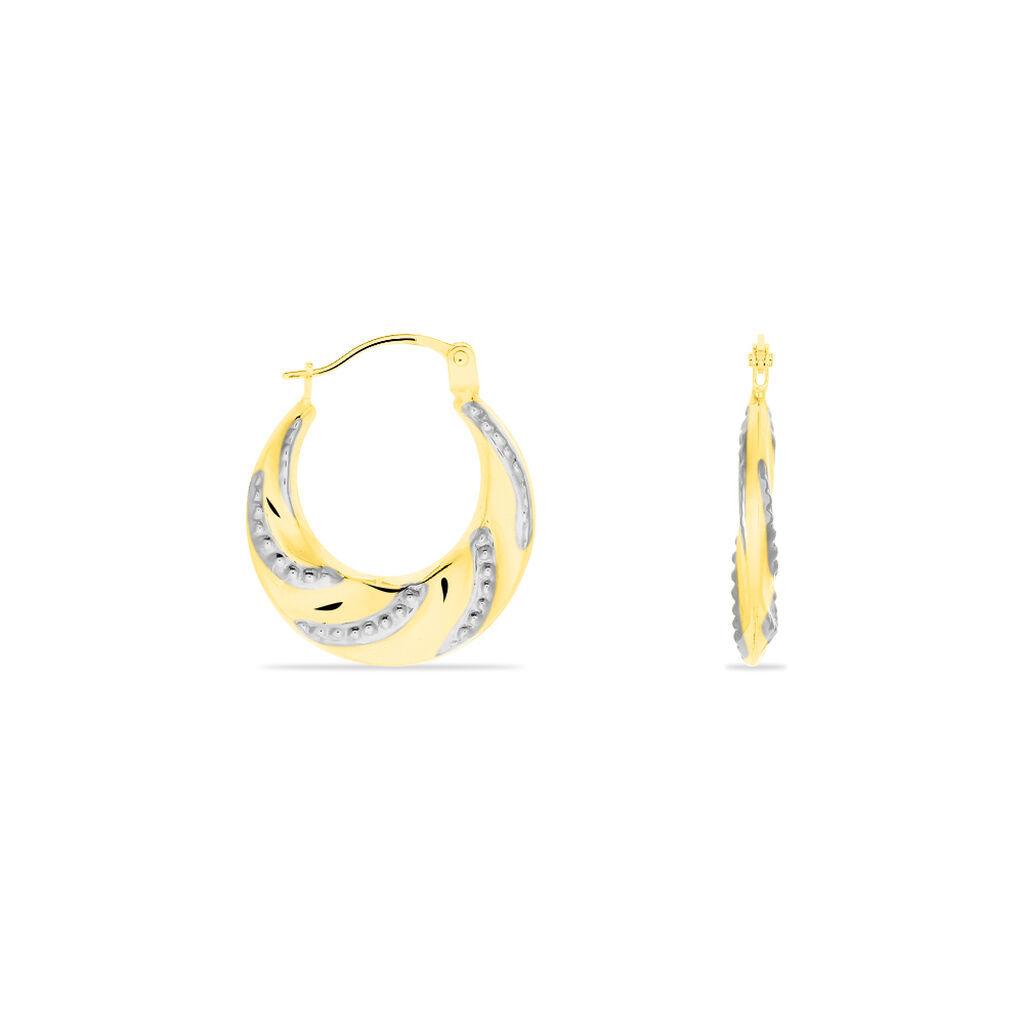 Damen Creolen Gold 585 Bicolor Facettiert - Creolen Damen | Oro Vivo