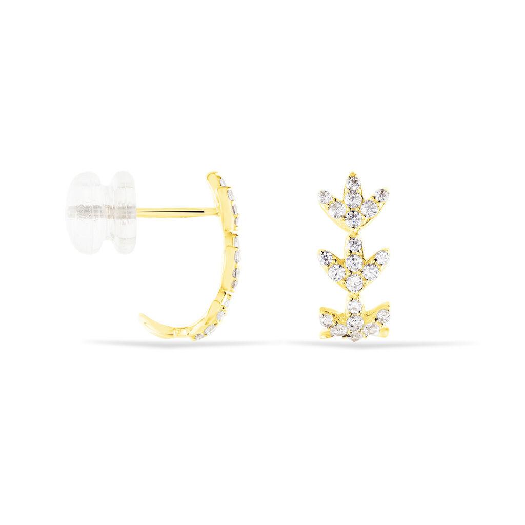 Damen Steckcreolen Gold 375 Zirkonia Blatt - Creolen Damen   Oro Vivo