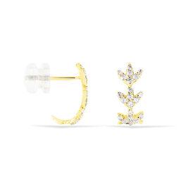 Damen Steckcreolen Gold 375 Zirkonia Blatt - Creolen  | Oro Vivo