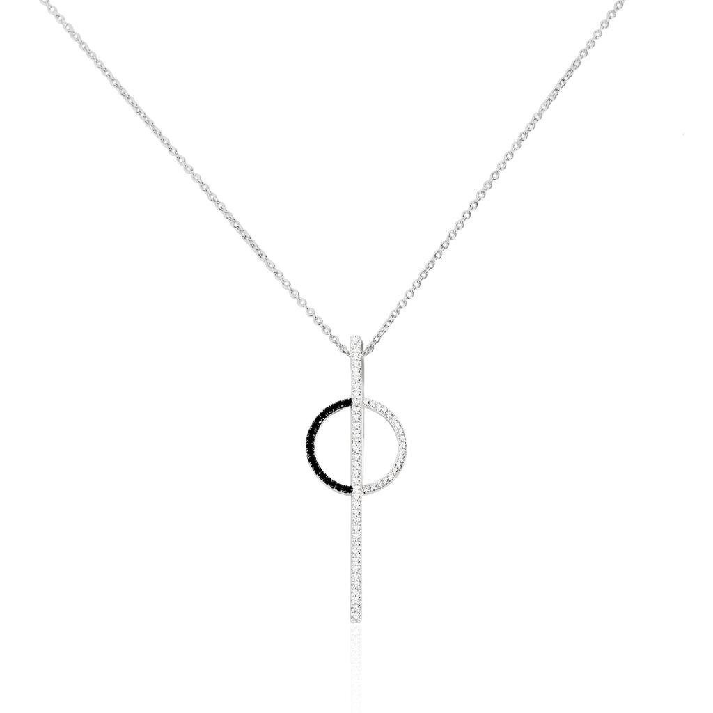 Damen Halskette Silber 925 Zirkonia Schwarz - Ketten mit Anhänger Damen | Oro Vivo