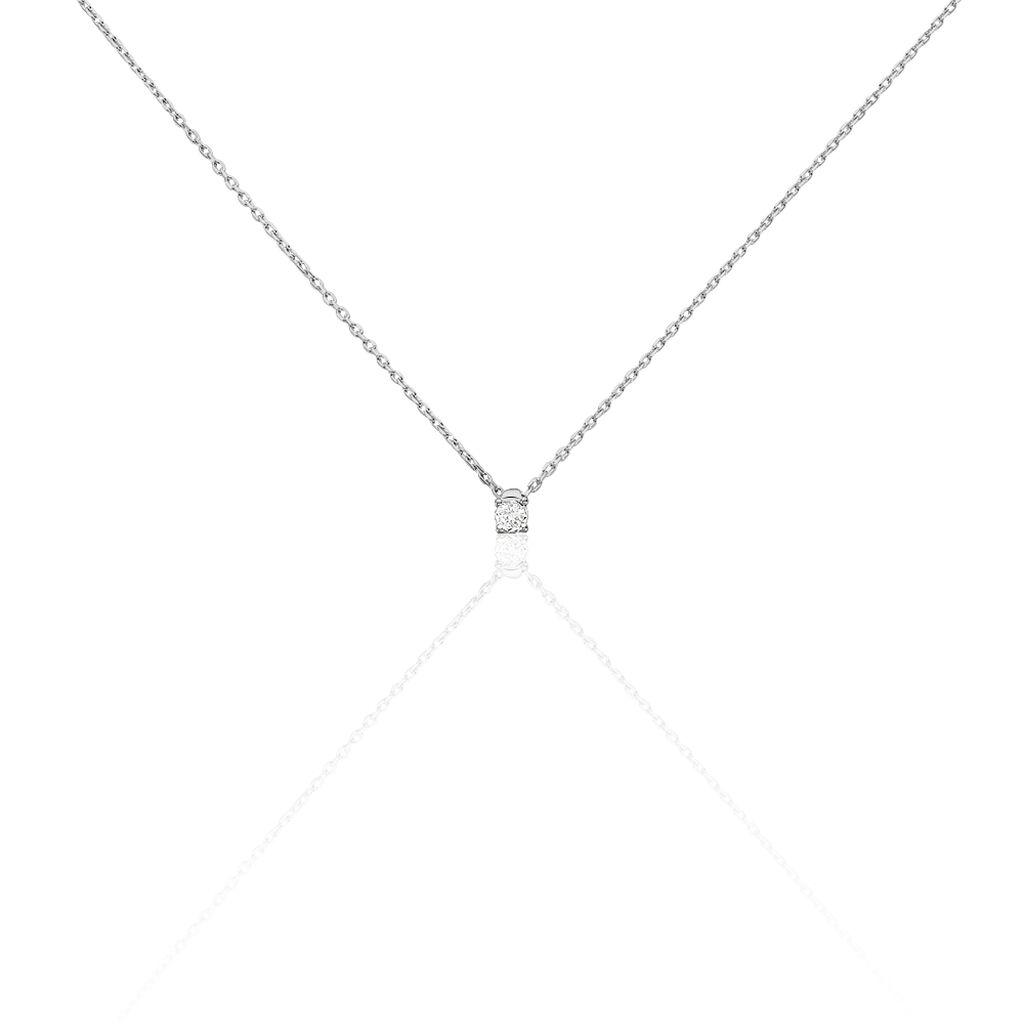 Damen Halskette Weißgold 375 Diamant 0,064ct - Ketten mit Anhänger Damen   Oro Vivo