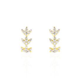 Damen Steckcreolen Gold 375 Zirkonia Blatt - Creolen    Oro Vivo
