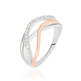 Damenring Silber 925 Bicolor Rosé Vergoldet - Ringe mit Stein  | Oro Vivo