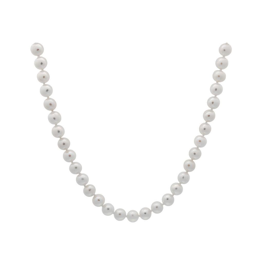 Damen Collier Silber 925 Zuchtperlen 7-8mm - Herzketten Damen   Oro Vivo