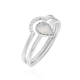 Damenring Weißgold 375 Zirkonia Perlmutt - Ringe mit Stein Damen | Oro Vivo