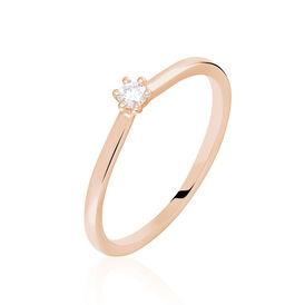 Solitärring Roségold 375 Diamant 0,07ct - Ringe mit Edelsteinen Damen | Oro Vivo