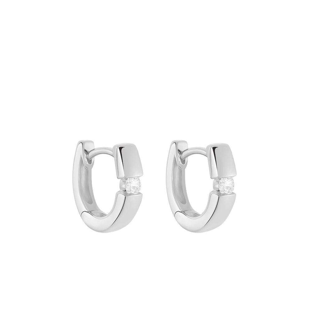 Damen Creolen Weißgold 375 Diamant 0,1ct  - Creolen Damen | Oro Vivo