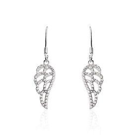 Damen Ohrhänger Lang Silber 925 Zirkonia Flügel - Ohrhänger Damen   Oro Vivo