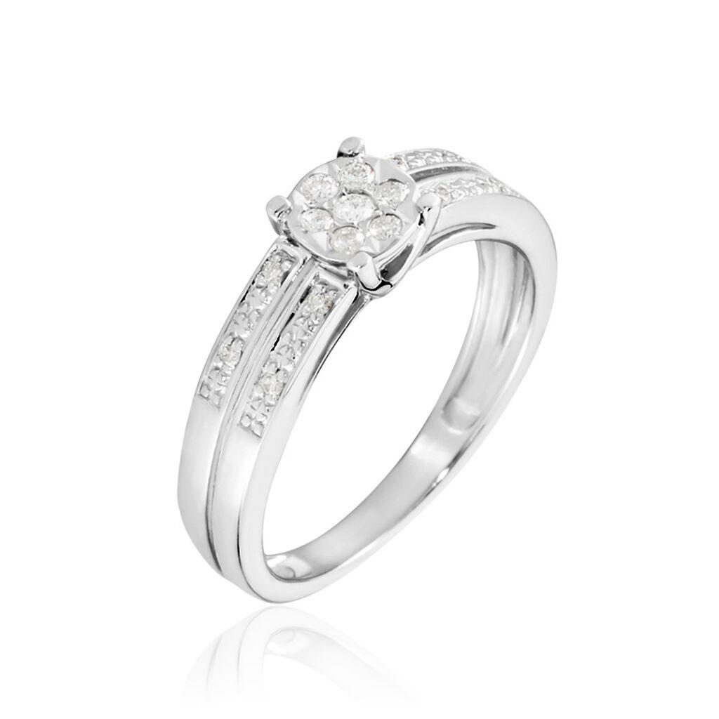 Damenring Weißgold 375 Diamanten 0,06ct - Ringe mit Edelsteinen Damen | Oro Vivo