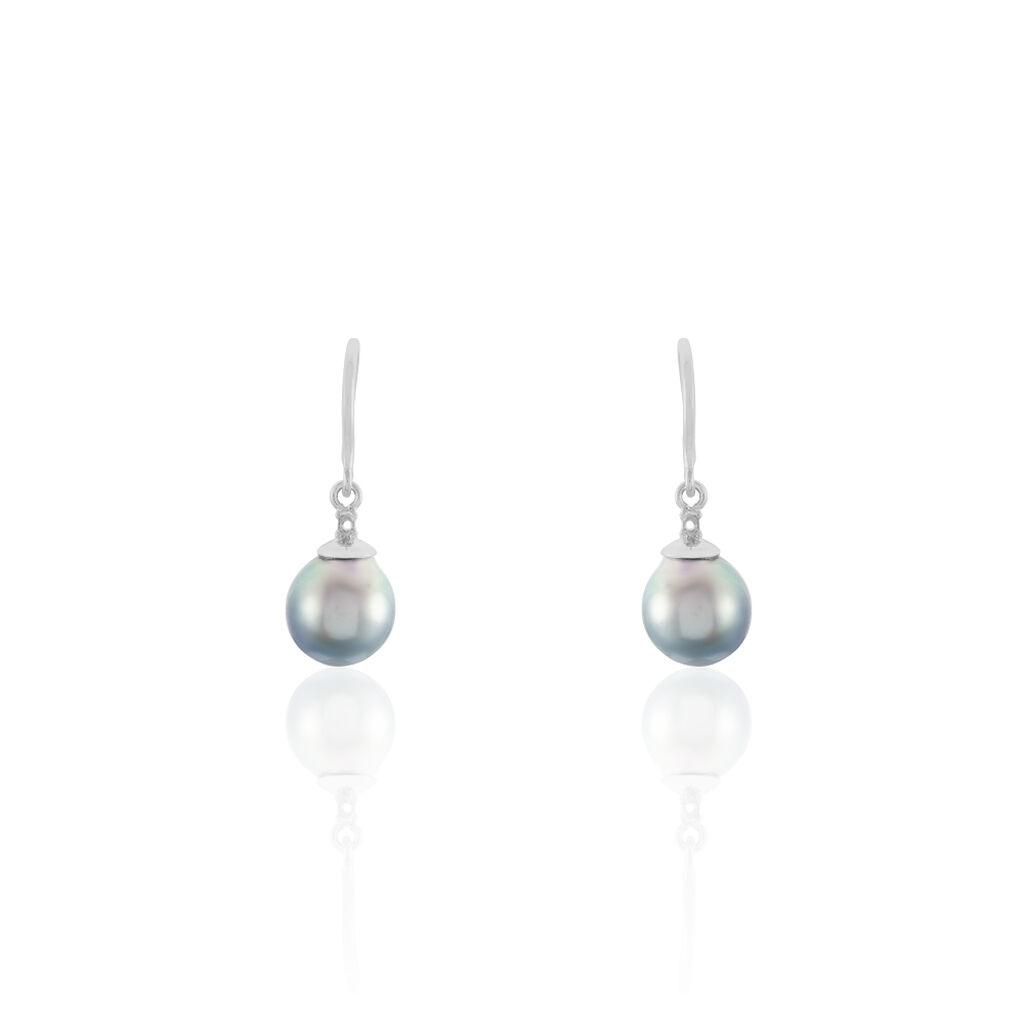 Damen Perlenohrringe Silber 925 Tahitiperle 8-9mm - Ohrhänger Damen   Oro Vivo