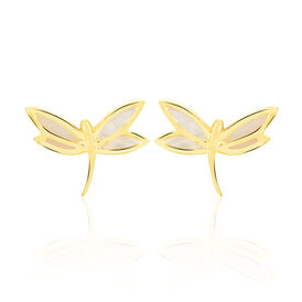 Damen Ohrstecker Gold 375 Perlmutt Libelle - Ohrstecker Damen | Oro Vivo