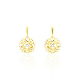 Damen Ohrstecker Lang Gold 375 Diamant Blume  - Ohrstecker lang  | Oro Vivo